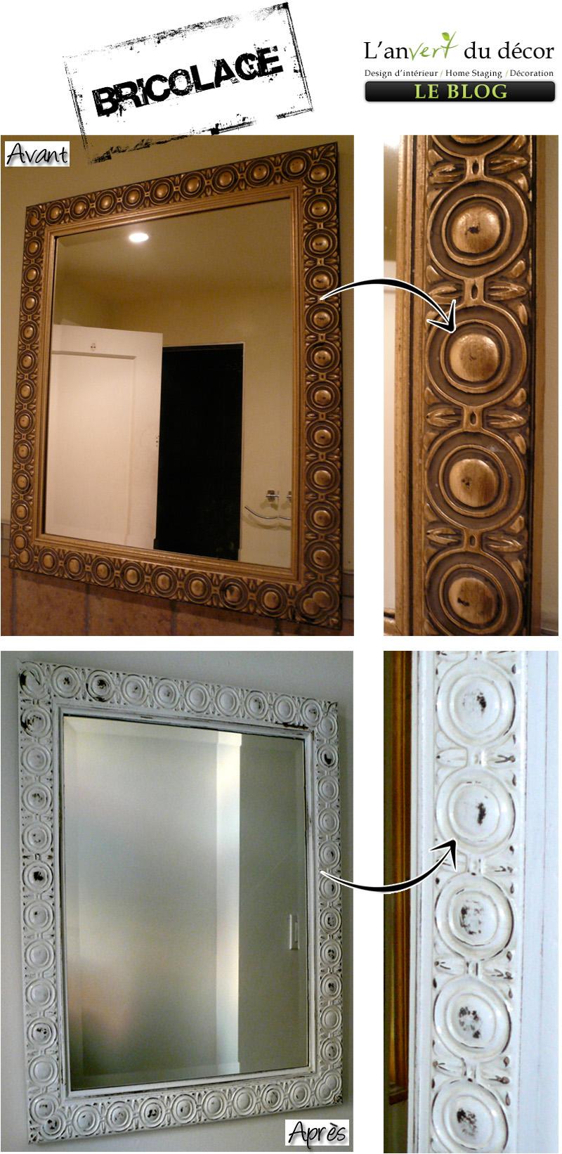 Transformer un vieux miroir l 39 an vert du d cor - Comment masquer un miroir ...