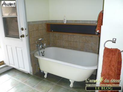 Mission nouvelle salle de bain suite et fin l 39 an vert du d cor - Salle de bain avec bain sur pattes ...