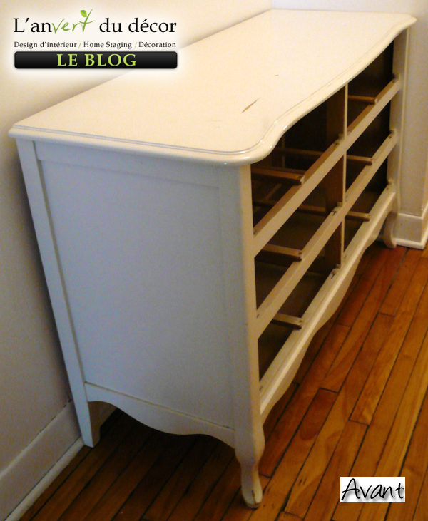 Une commode transform e l 39 an vert du d cor for Transformer une armoire en bureau