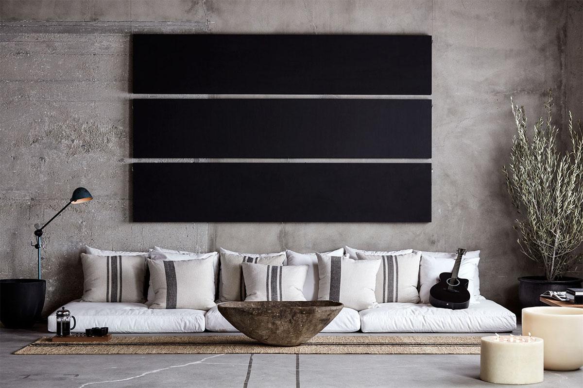 Salon zen bambou - Mur beton cire salon ...